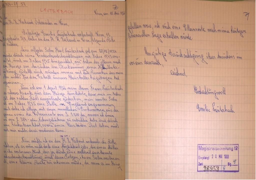 Schreiben Emilie Lauterbachs an den KP-nahen KZ-Verband, 18. Mai 1966 (zwei Blätter).  Quelle: Stadt- und Landesarchiv Wien