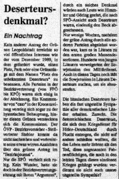 Antrag der Grünen Leopoldstadt als Thema in der Grünalternativen Zeitung. Quelle: Geisterbahn, 1990