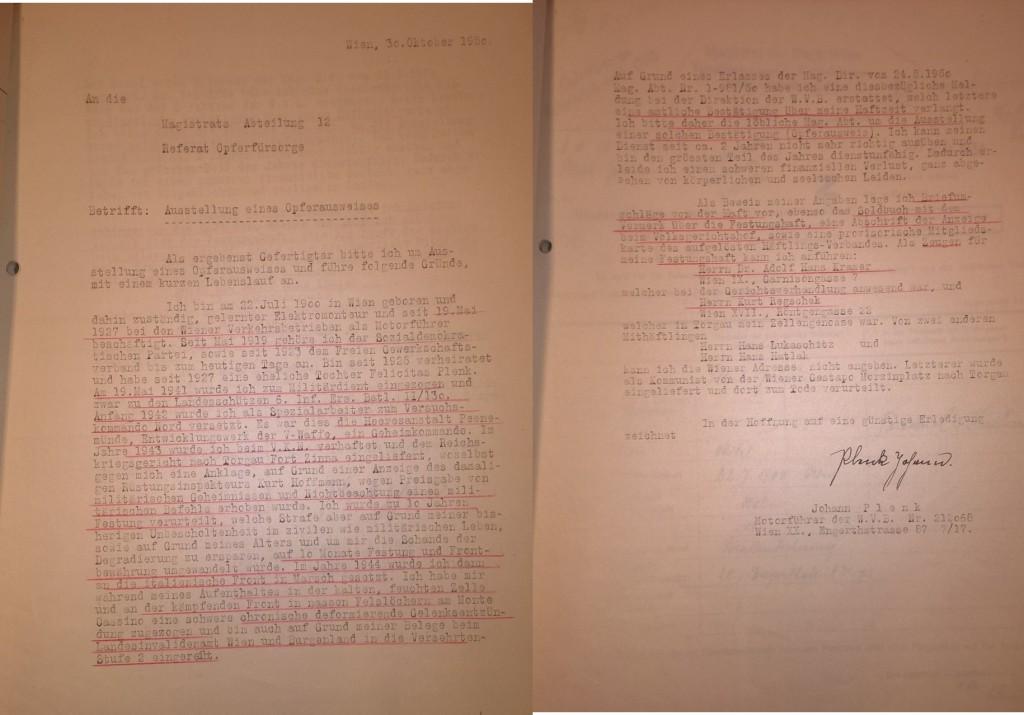 Ansuchen Johann Plenks an die Verwaltungsgruppe VI (Wohlfahrtswesen) des Wiener Magistrats, 25. Mai 1946. / Quelle: Stadt- und Landesarchiv Wien