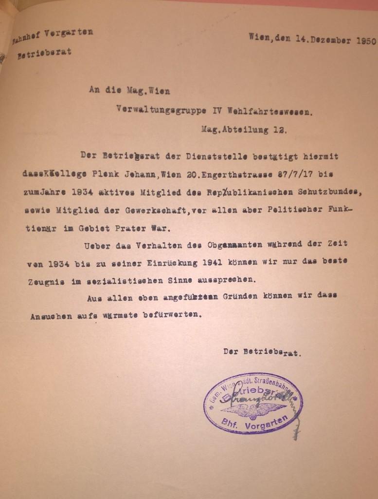 Bescheinigung der Wiener Verkehrsbetriebe, 14. Dezember 1950. Quelle: Stadt- und Landesarchiv Wien