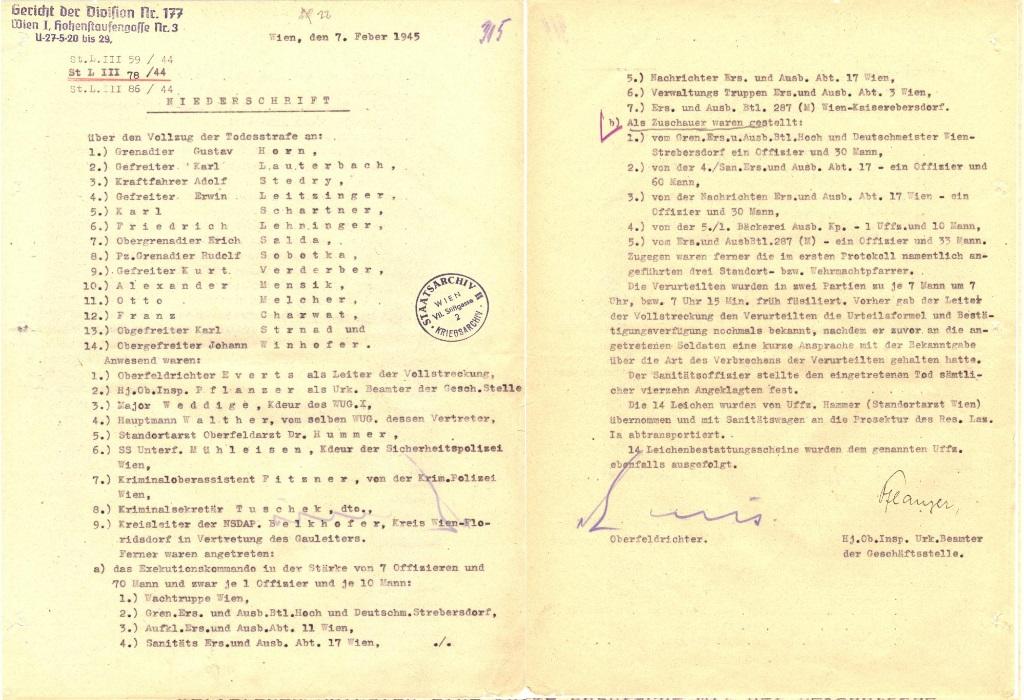 Hinrichtungsprotokoll, 7. Februar 1945 (zwei Blätter). Quelle: Österreichisches Staatsarchiv/Archiv der Republik