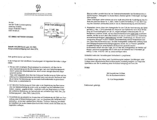 Schreiben Sozialministerium an die Tiroler Landesregierung, 1. März 2005 (zwei Blätter). Quelle: Privatarchiv Peter Pirker