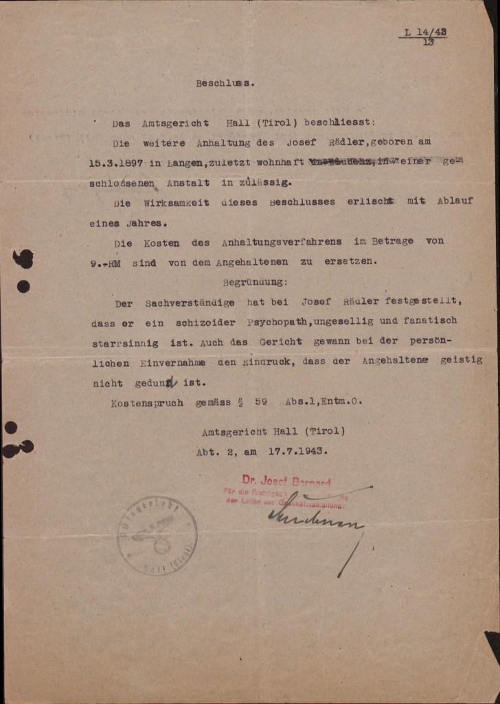 Beschluss des Amtsgerichts Hall (Tirol), 17. Juli 1943. Quelle: Landesarchiv Vorarlberg