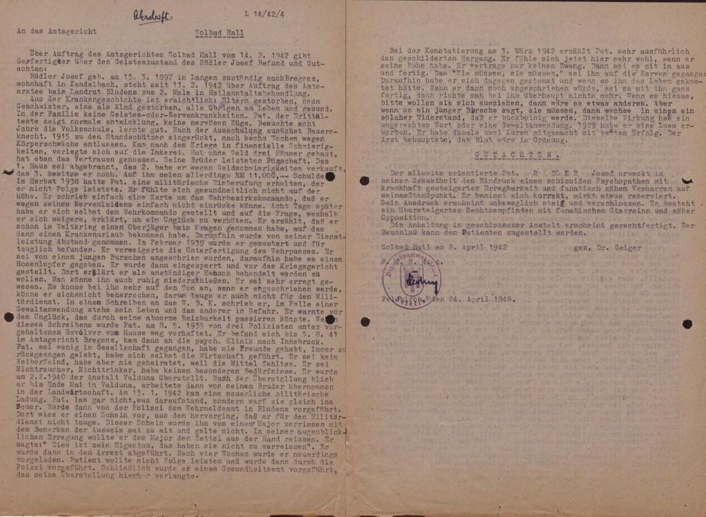 Schreiben des ärztlichen Gutachters Dr. Geyer, 2. April 1942 (zwei Blätter).  Quelle: Landesarchiv Vorarlberg