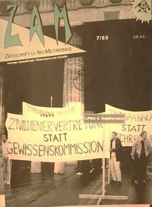 Titelblatt der Zeitschrift »ZAM - Zeitschrift für Antimilitarismus« mit einem Bild des umbenannten Heldenplatzes. Quelle: ZAM, Ausgabe 7/89. Archiv der sozialen Bewegungen Wien