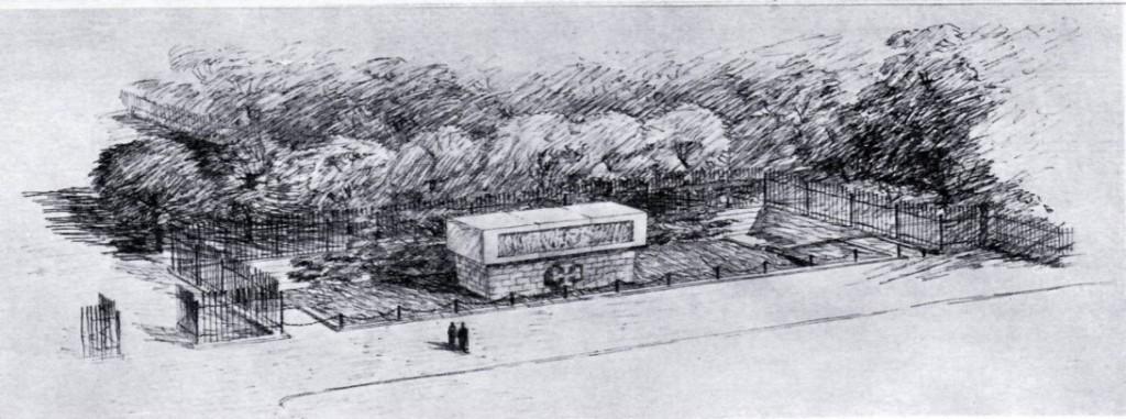 Siegreicher Denkmalsentwurf von Holzmeister/Andre.  Quelle:  profil, Österreichische Monatsschrift für bildende Kunst, 4/1936, Heft 10, S.444/445