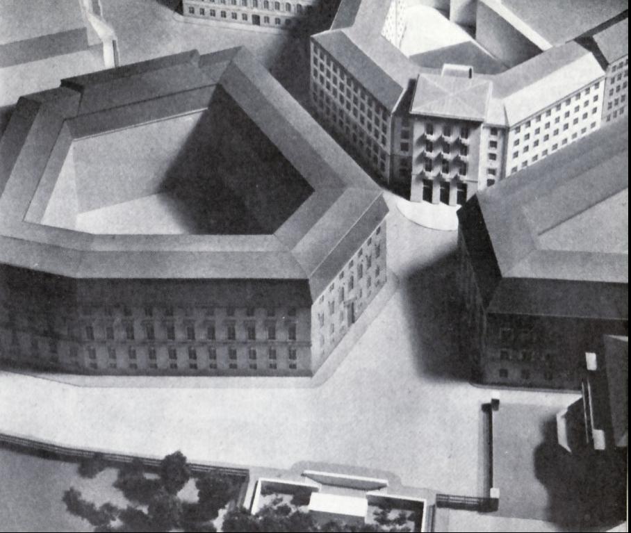 Der Ballhausplatz mit geplanten »Haus der Vaterländischen Front«, oben rechts und Dollfuß-Nationaldenkmal, unten Mitte, Modell von Clemens Holzmeister von 1937.