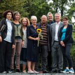 Gedenkfeier Ballhausplatz 2017: Alev Korun, Birgit Hebein, Monika Vana, Friedrun Huemer, Niki Kunrath, Martin Margulies, David Ellensohn, Sigi Maurer
